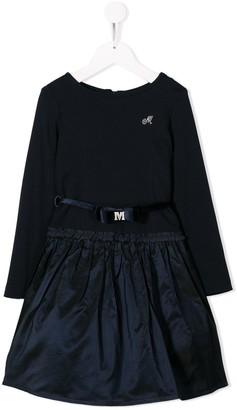 MonnaLisa Taffeta-Skirt Long-Sleeve Dress