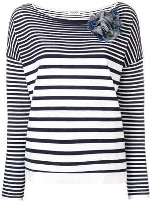 Liu Jo Boat Neck Striped Top