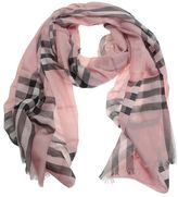 Burberry Classic Check Printed Pink Silk And Wool Scarf