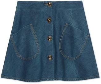 Gucci Marble washed denim mini skirt