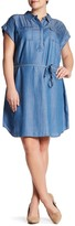 Vince Camuto Rolled Short Sleeve Shirtdress (Plus Size)