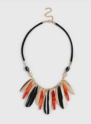 Dorothy Perkins Womens Orange And Monochrome Piano Key Necklace