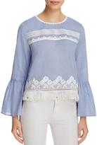 T Tahari Irena Embellished Bell Sleeve Blouse