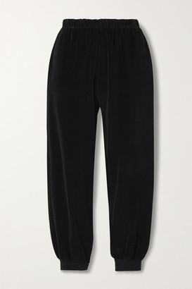 SUZIE KONDI Stretch Cotton-blend Velour Track Pants - Black