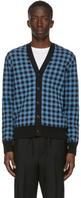Ami Alexandre Mattiussi Black and Blue Gingham Jacquard Cardigan