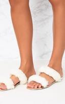 PrettyLittleThing Cream Faux Fur Double Strap Sandals