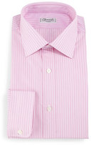 Charvet Striped Barrel-Cuff Dress Shirt, Pink