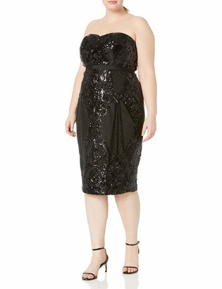 City Chic Women's Apparel Women's Plus Size Fitted Strapless Dress with Sequin Detail