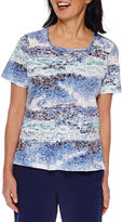 Alfred Dunner Cable Beach Short Sleeve Square Neck T-Shirt