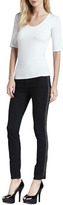 AG Adriano Goldschmied The Remi Shimmer-Side Tuxedo Ankle Jeans