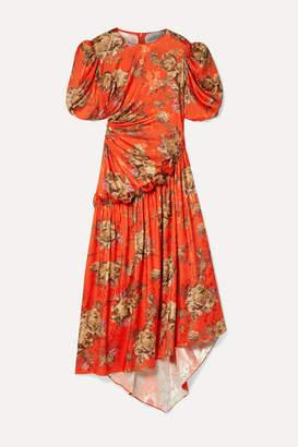 Preen by Thornton Bregazzi Ophelie Ruffled Floral-print Satin-jacquard Midi Dress - Tomato red
