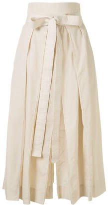 Lemaire High-Rise Pleated Tie Waist Midi Skirt