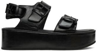 Ann Demeulemeester Black Double-Strap Vernice Sandals