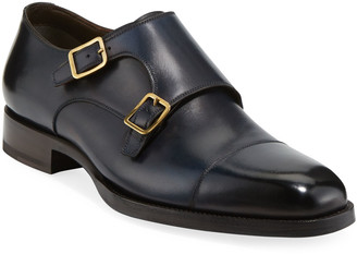 Tom Ford Men's Burnished Double-Monk Leather Loafers