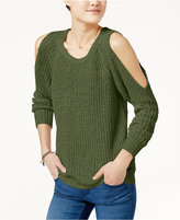 Ultra Flirt Juniors' Open-Back Cold-Shoulder Sweater