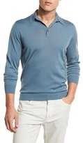 Ermenegildo Zegna High-Performance Merino Polo Sweater, Blue