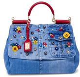Dolce & Gabbana Large Sicily Floral-Embellished Denim Top Handle Satchel