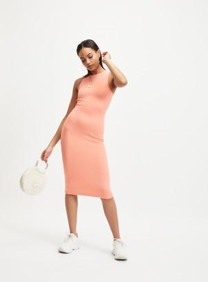 Miss Selfridge Orange Rib Bodycon Midi Dress