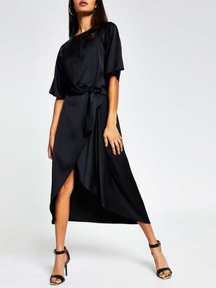 River Island Tie Side Asymmetric Midi Dress - Black