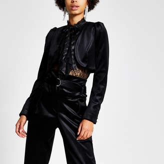 River Island Black velvet cropped long sleeve jacket