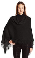 Minnie Rose Women's Cashmere Fringe Ruana Sweater Poncho