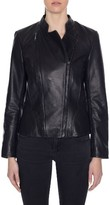 Tahari Women's Carry Dual Zip Front Leather Jacket