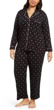 Alfani Super Soft Plus Size Printed Top & Pants Pajamas Set, Created For Macy's