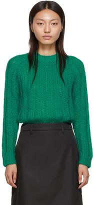 Prada Green Mohair Oversized Crewneck Sweater