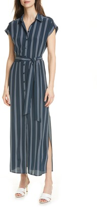 Club Monaco Danielle Stripe Silk Maxi Shirtdress