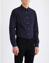 Sandro Micro diamond-print slim-fit cotton shirt
