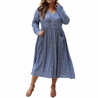 Taottao Decor TAOtTAO Women Maxi Dress Floral Side Split Casual Loose Pockets Long/Short Sleeve Beach T-Shirt Dress Blue