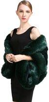 BEAUTELICATE Women's Faux Fox Fur Long Shawl Cloak Cape Coat Shrug-S64