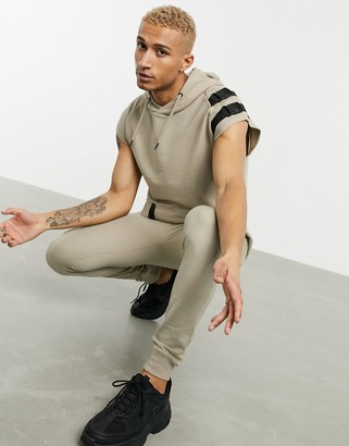 Soul Star two-piece sleeveless utility hoodie in tan