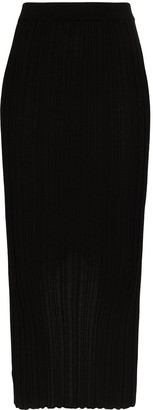 Helmut Lang Ribbed Midi Skirt