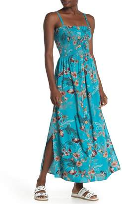 Angie Floral Paisley Smocked Button Maxi Dress