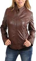 House of Leather Ladies Real Leather Biker Style Standing Collar Casual Jacket Becky
