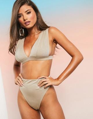 ASOS DESIGN fuller bust mix and match glitter deep band plunge bikini to in gold metallic