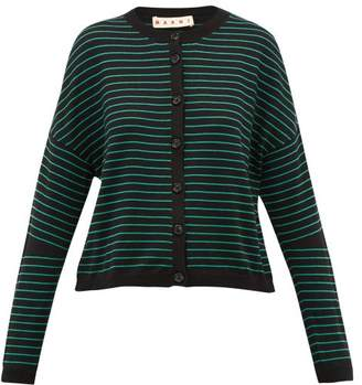Marni Striped Cotton-blend Cardigan - Womens - Black Multi