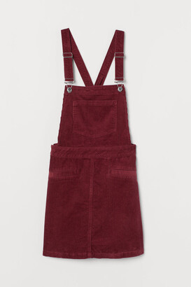 H&M Corduroy Overall Dress - Red