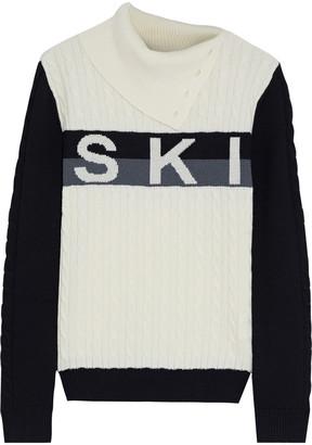 Perfect Moment Jacquard-paneled Cable-knit Merino Wool Turtleneck Sweater