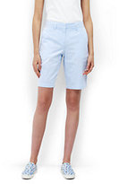 "Lands' End Women's Tall Mid Rise 10"" Chino Shorts-Fresh Sky/White Stripe"