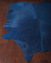 Shelby Croc-Stamped Hair-Hide Rug, 5' x 8'