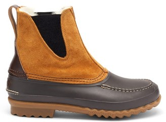 Quoddy Barn Suede, Leather And Shearling Boots - Tan Multi