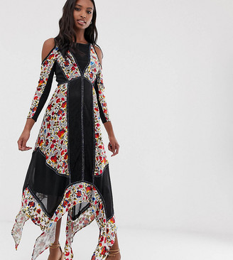 Frock And Frill Tall Floral Printed Velvet Hanky Hem Dress With Cold Shoulder