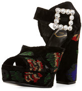 Roger Vivier Anjelica Floral-Beaded Velvet 130mm Sandal, Black/Multi