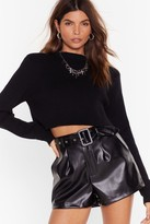 Nasty Gal Womens Faux Leather Buckle Shorts - Black - 14, Black