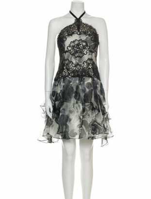 Marchesa Notte Silk Mini Dress Black