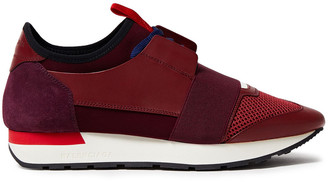 Balenciaga Color-block Suede, Leather And Mesh Sneakers