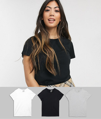 ASOS DESIGN Petite ultimate organic cotton crew neck t-shirt 3 pack SAVE