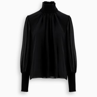 Chloé Blue ribbed trims silk blouse